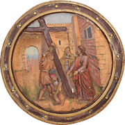 19th Century 5th Station of the Cross (Simon of Cyrene helps Jesus carry the cross) Polychrome Gesso