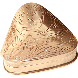 Vintage Sterling Silver Pillbox with hand engraved Decor - circa 1930