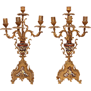 18th Century Pair of Rococo Bronze Candelabras / Candlesticks with Cloisonne Enamel and Gilt