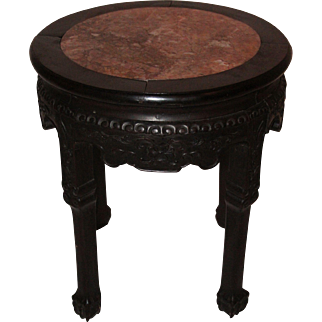 Victorian Side Table / Flower Jardiniere in Chinese-Style - Carved Tropical Wood and Marble