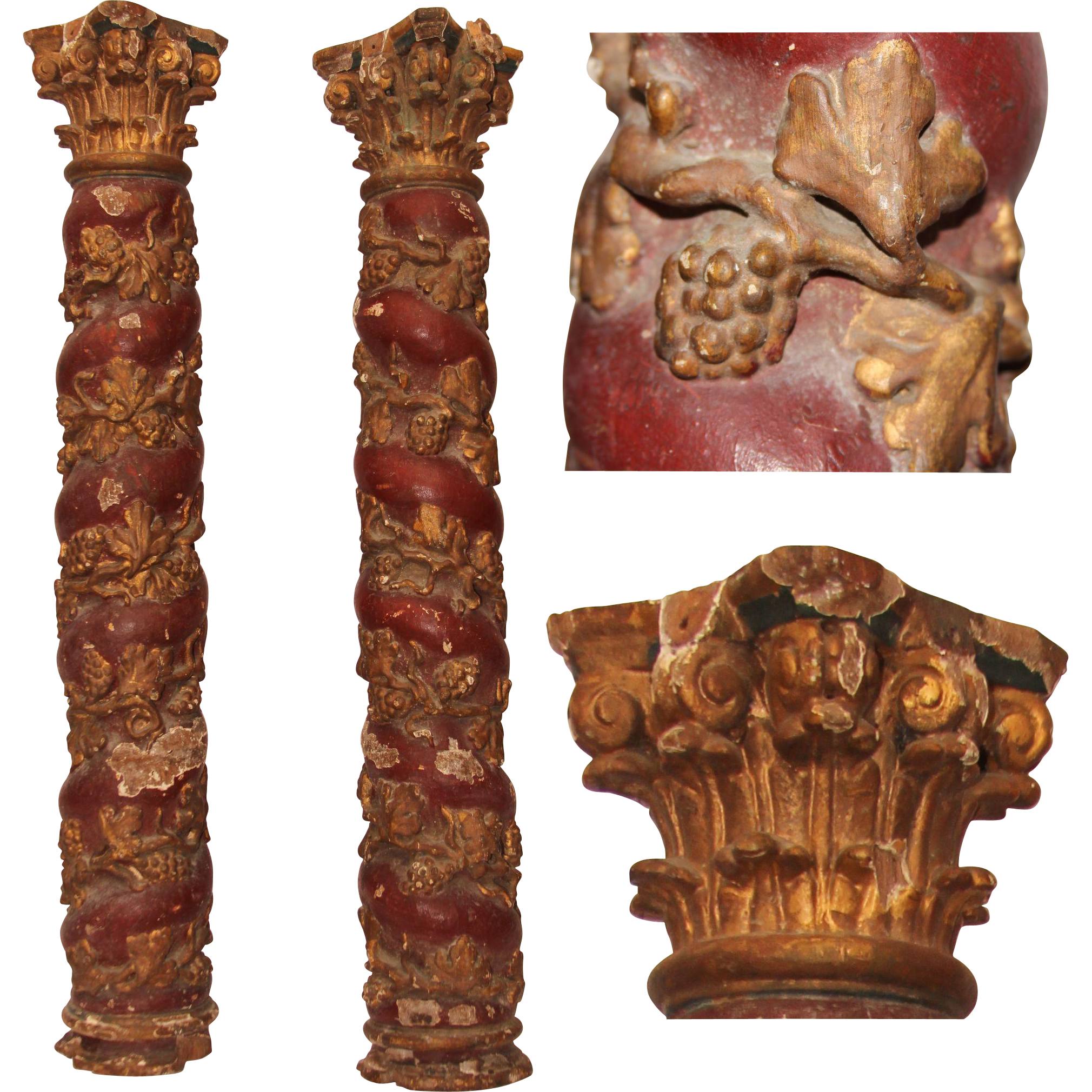 17th Century Set Of 2 Baroque Contorted Polychrome Columns