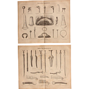 19th Century Set of Prints of Tools, Weapons, Jewelry of the Bronze Age - 1874 Archaeological Steel Engraving