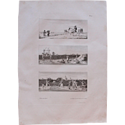 """1802 Original Copper Engraving """"Muslim life in Egypt"""" from Napoleons Travels to Egypt (Vivant Denon) Page 10"""""""