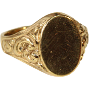 1900's French Art Nouveau Signet Ring - 9k Gold Filled - Rococo Style unengraved
