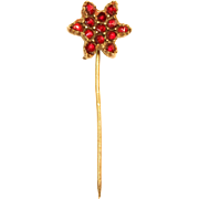 Victorian Stick Pin with Bohemian Garnet Star - 1880's