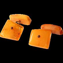Art Deco Baltic Amber Cufflinks - Egg Yolk / Butterscotch  Cuff Links - Red Tag Sale Item
