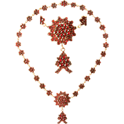 Victorian Necklace with Bohemian Garnet Star - 1890's