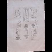 "1802 Original Copper Engraving ""Ancient Reliefs"" from Napoleons Travels to Egypt (Vivant Denon) Page 120"