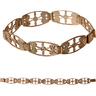 Victorian Link Bracelet with Hearts and Floral Design - Tombac