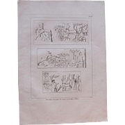 "1802 Original Copper Engraving ""Reliefs of Thebes"" from Napoleons Travels to Egypt (Vivant Denon) Page 133"