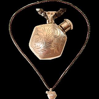 Victorian Vinaigrette Bottle - Sterling Silver Perfume Snuff Bottle Necklace
