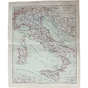 19th Century Map of Italy incl. Rome, Naples, Milano, Sicily, Venice, Florence and more - 1876 Steel Engraving