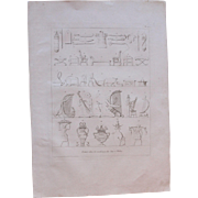 "1802 Original Copper Engraving ""Paintings of Thebes"" from Napoleons Travels to Egypt (Vivant Denon) Page 135"
