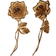 Vintage Gold Tone Flower Rose Pin Brooch