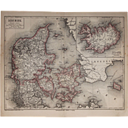 19th Century Map of Denmark and Iceland incl. Copenhagen, Reykjavik, Parts of Sweden and more - 1874 Steel Engraving