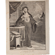 Rare 18th Century Copper Engraving of Saint Gertrude the Great by Italian Artist Pellegrino dal Colle