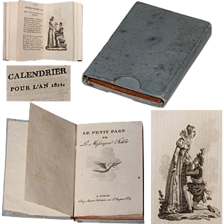 1811 French Miniature Almanac Book with Copper Engravings and Gilt Edging