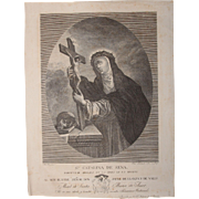 Rare Copper Engraving of Saint Catherine of Siena by Catalan Artist Francisco Fontanals