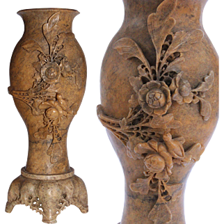 1900's Large Chinese Soapstone Vase Sculpture - Hand Carved with Flowers and Bird