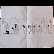 "1802 Original Copper Engraving of ""Hieroglyphics of Ancient Egyptian Manuscript"" from Napoleons Travels to Egypt (Vivant Denon)"