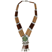 Vintage Oriental Ethnic Wood and Glass Necklace - Handmade