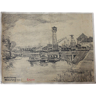 1910's Original Art Nouveau Charcoal Drawing of a Rhine Harbor by Franz Brantzky