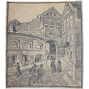 1910's Original Art Nouveau Charcoal Drawing of City Scape by Franz Brantzky