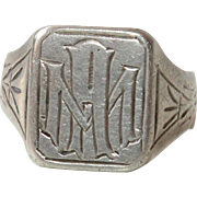 Art Deco Sterling Silver Signet Ring MA / AM