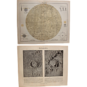 19th Century Set of two Prints of the Moon - Map and Photos of the surface - 1877 Steel Engraving & Photo