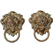 Set of two 19th Century Bronzed Metal Lion Head Handles