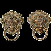 Set of two 19th Century Bronzed Metal Lion Head Handles