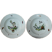 19th Century Pair of French Meissen-Style by Edme Samson - Handpainted Birds, Butterflies & Bugs