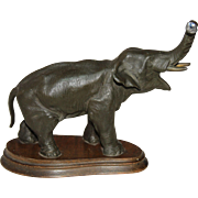 Original Art Nouveau Bronzed Metal Sculpture of Elephant