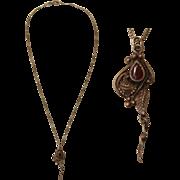 Art Nouveau Sterling Silver Floral Pendent Necklace with Carnelian