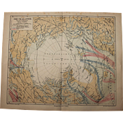 19th Century Map of the Arctic / North Polar Countries - 1877 Steel Engraving