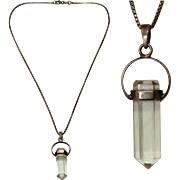 Vintage Quartz Crystal and Sterling Silver Pendent Necklace