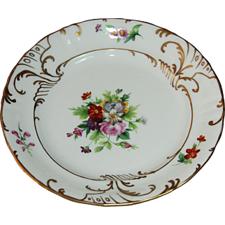19th Century Dresden Style Porcelain Plate - Handpainted with Gilt by C. Tielsch & Co.