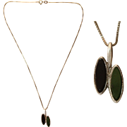 Vintage Sterling Silver, Onyx & Emerald  Art Deco Revival Necklace