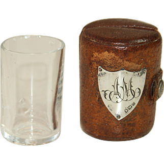 """1909 British Signet  AM """"Pocket Shot"""" in original Leather & Sterling Silver Case - Glass with Initial Casing"""