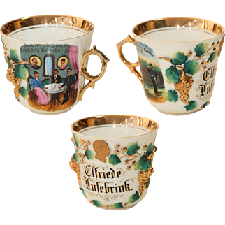 Rare 19th Century Hand Painted Imperial German Reserve Troop Cup - Military Commemorative