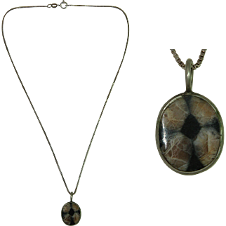 Vintage Sterling Silver & Andalusite Pendent Necklace