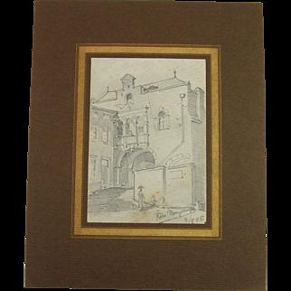 "19th Century Original Drawing for the book ""Reiseskizzen"" by Franz Brantzky"