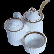 19th Century Salt & Sugar Dish - Porcelain Spice Server with original antler spoon