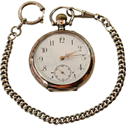 19th Century Sterling Silver Friede Pocket Watch with Chain from Switzerland