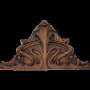 Art Nouveau Carved Wood Crown - Catalan Modernisme Decoration