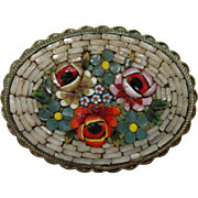 1900's Century Micro Mosaic Flower Brooch - Grand Tour Souvenir from Italy