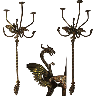 Masterpiece Art Nouveau Set of two Dragon Hat / Coat Racks - Catalan Modernisme Decoration