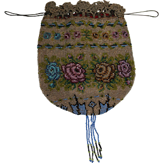 19th Century Victorian Floral Microbeaded Purse Reticule with Tassel