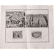 18th Century Copper Engraving of Ancient Roman Testudo Formation from L'antiquité expliquée et représentée en figures by Bernard de Montfaucon