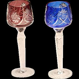 Art Nouveau Set of two Bohemian Lead Crystal Liqueur Glasses - 1900's Blue & Maroon Handcut Goblets